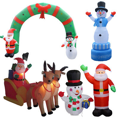 Large Inflatable Double Deer Sled Christmas Santa Snowman Decoration with LED AU