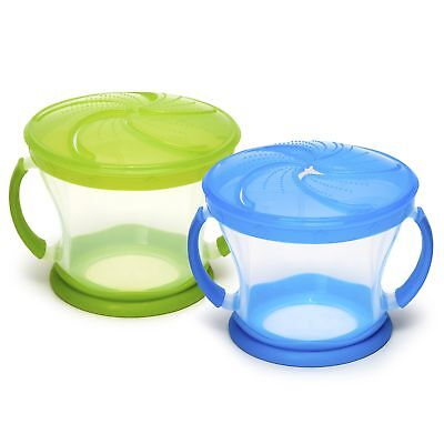 2 Piece Snack Catcher Blue Green Kids Baby Toddler Kid Food Holder Cup Container