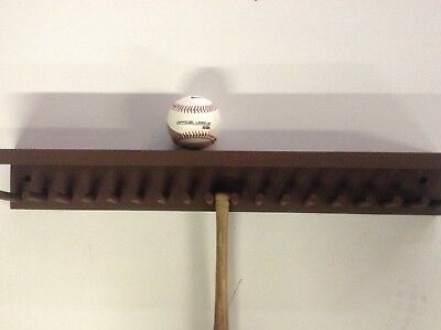 Baseball Bat Rack and Ball Holder Display Meant to Hold 17 Mini Size