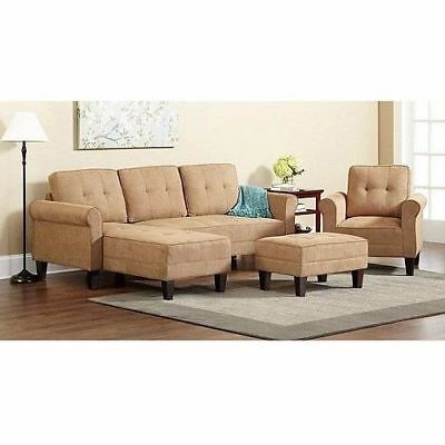Reversible Sectional Sofa Mid Century Modern Vintage Couch Sand Beige Retro Home