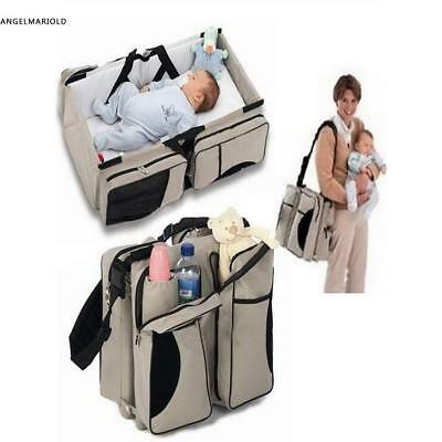 3in1Changing Baby Bag Multifunction Mummy Diaper Nappy Backpack CarrycotBaby Bed