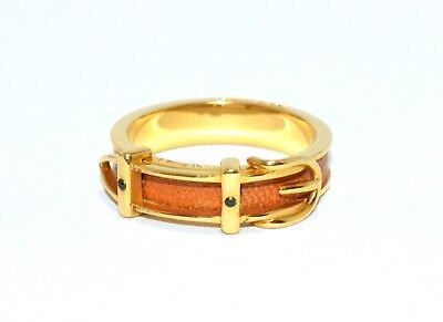 Hermes Gold Scarf Ring BELT Motif Orange or USE AS JUST RING Charm Authentic
