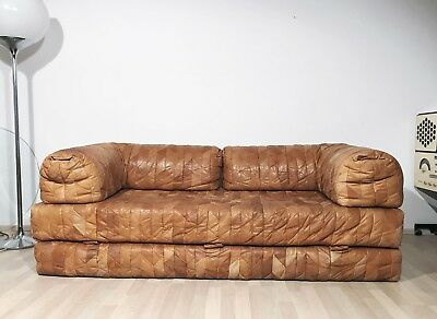 VINTAGE 1970s LEATHER PATCHWORK UPHOLSTERY DE SEDE STYLE DAYBED SOFA