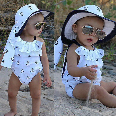 Newborn Infant Baby Girl Romper Anchor Jumpsuit Outfits Sunsuit Ruffles Clothes