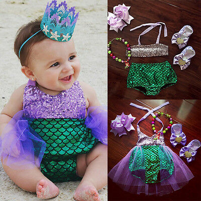 AU Newborn Baby Girls Kids Mermaid Bikini Swimwear Swimsuit Bathing Suit Costume