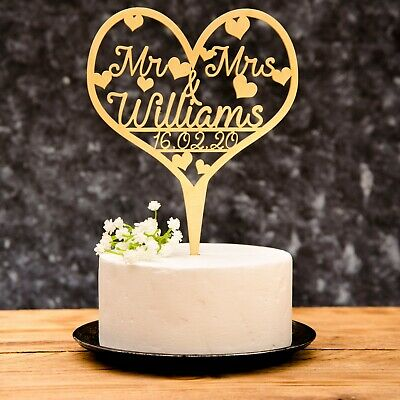 Personalised Wedding Mr & Mrs Heart Cake Topper wooden Gold, Silver, Rose Gold