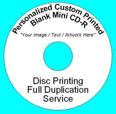 50x Personalized Custom Printed 8CM Mini CD-R Disc (210MB 24min 24x)Full Colour