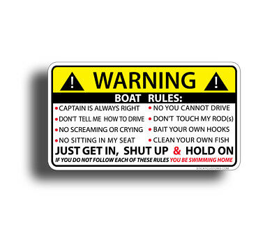 Boat Rules Sticker Funny Fishing Boating Safety Graphic Decal Bass Fish Lake Ski