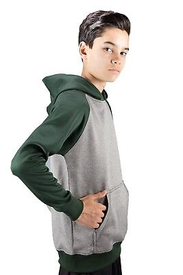 (Medium, Forest) - Covalent Activewear Youth Ringer Hoody. Free Delivery