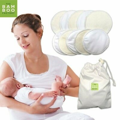 #1 BEST Washable Organic Bamboo Nursing Pads -10 PACK (5 pairs)- Reusable Breast