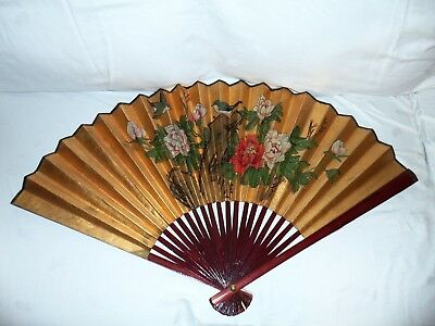 "Japanese Vintage Hand Painted Sensu Folding Gold Fan With Birds & Flowers 37""x21"