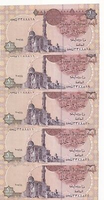 Egypt 1 pound 5X 2005  CONSECUTIVE  FANCY SERIAL pick#50 UNC