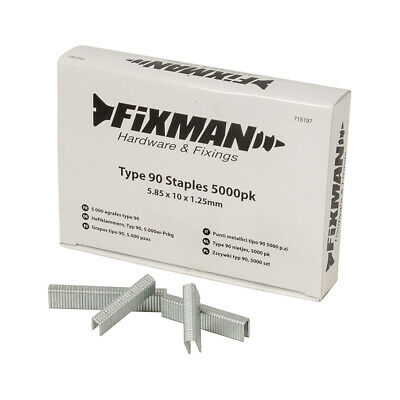 Fixman 715197 Type 90 Staples 5000pk 5.85 x 10 x 1.25mm
