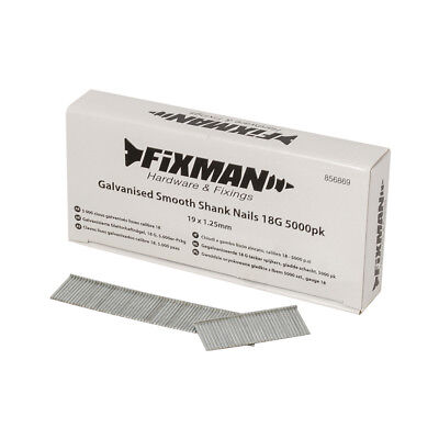 Fixman 856869 Galvanised Smooth Shank Nails 18G 5000pk 19 x 1.25mm