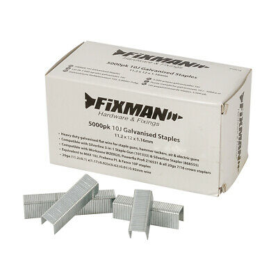 Fixman 810318 10J Galvanised Staples 5000pk 11.2 x 12 x 1.16mm