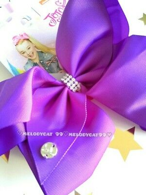 "AUTHENTIC,💜Jojo Siwa Signature Large Boutique Bow 8"" Jo Jo, Purple w Rhinestone"