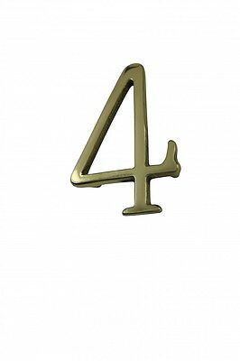 """Bright Solid Brass 3"""" Address House Number '4' Pin Mount 