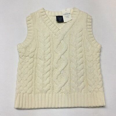 NWT Baby Gap Boys Ivory Cotton Sweater Vest 6 12 Mo Cable Knit V Neck