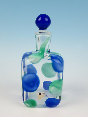 "Rare Ermanno Toso ""a Petoni"" Bottle w/ Orig Label Vintage Murano Art Glass Nerox"