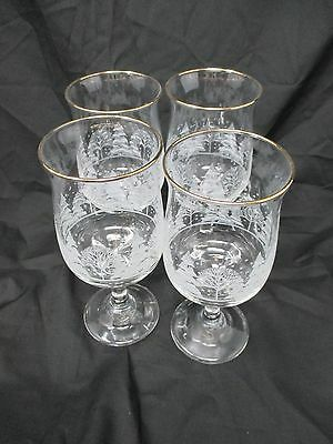 4 Arbys Christmas Winter White Frosted Trees Tulip Goblet Glasses Gold Rim Wine