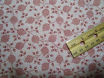 """Antique Fabric Madder Red/Cranberry calico 22"""" x 40"""" Dolls Quilt"""
