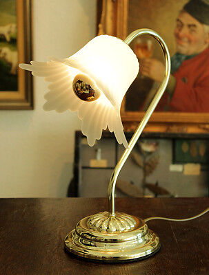 Jugendstil Tisch Lampe - Messing / Tulpen Glas Satiniert - Art Deco Table Lamp