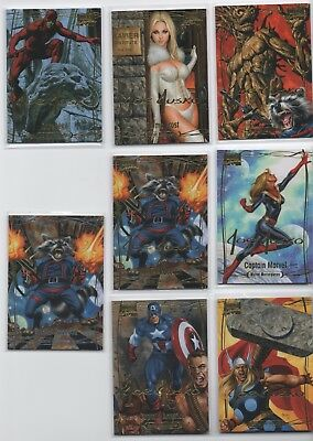 2015 Marvel Masterpieces 7 Gold Foil Cards u. 1x Rocket Raccoon nummeriert ..Neu