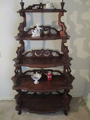 Antique Victorian Whatnot Stand Walnut Etagere Shelf 5' - Pick Up Metro Detroit