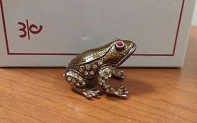 BeJeweled FROG BRASS & Crystal Baked Enamel Trinket Box, with Magnetic closure