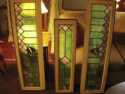 Antique WINDOW  Stained glass Transom 1800's Mission arts & craft 3 pcs MATCHING
