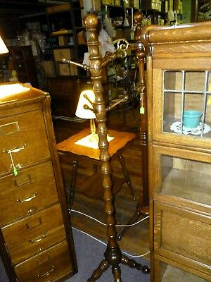 Antique Oak Clothes Tree turned column hat coat rack refinished 1900's