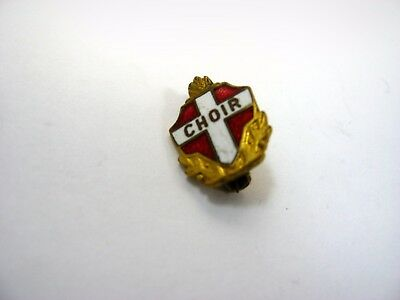 Antique Vintage Collectible Pin: CHOIR Red White Enamel Cross