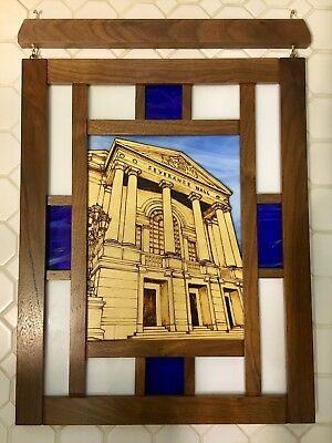Severance Hall - Hand Made Stained Glass and Wood Hanging Art - Unique