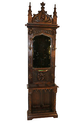 Outstanding Antique Gothic Mirrored Hall Tree or Coat Rack, Carved Jesters