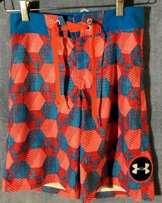 Under Armour Boys Blue Pink Red Barrel Board Shorts Bathing Suit~Boys Size 26