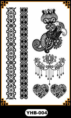 Black Bracelet headdress Henna Lace Body Hand Hair Stencil Temporary Tattoo