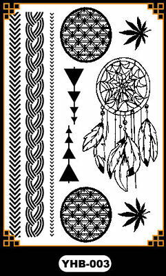 Black Boho Bracelet leaves Henna Lace Body Hand Hair Stencil Temporary Tattoo