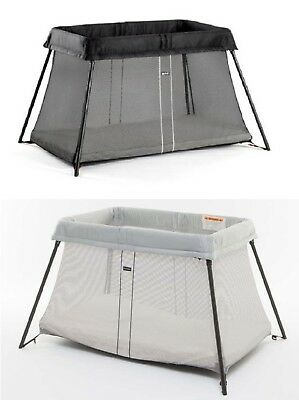 Baby Bjorn Travel Crib Light Playpen with Fitted Sheet Bundle - Silver & Black