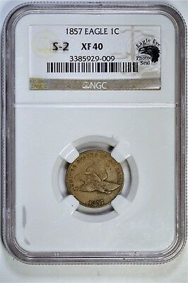 Snow Variety Sale Lot #6 1857 Flying Eagle cent S-2 Obv. of '56 XF40 NGC PS