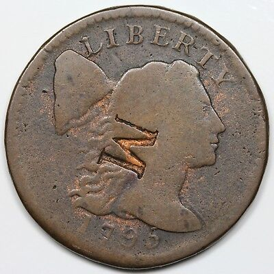 "1795 Liberty Cap Large Cent, Plain Edge, ""M"" counterstamp, G+ detail"