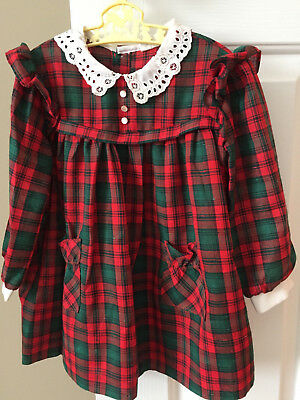 Vintage Nannette Girls Red and Green Plaid Christmas Dress, Size 3T, EUC!