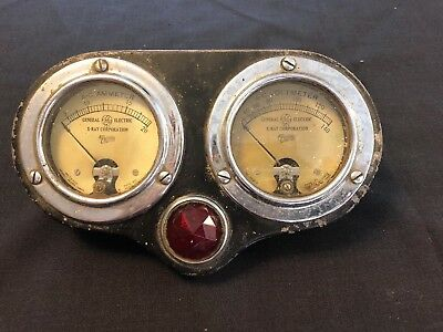 Antique General Electric X-Ray AC Ammeter Voltmeter Medical Gage Jeweled Lens