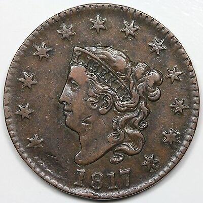 1817 Coronet Head Large Cent, VF+ detail