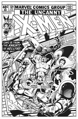 X-MEN #129 BYRNE and AUSTIN Cover Recreation original art 13x20