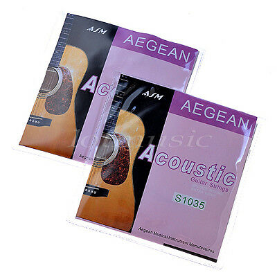 2 Sets Acoustic Guitar Strings Set Brass Wound Extra Light .010-.047 inch