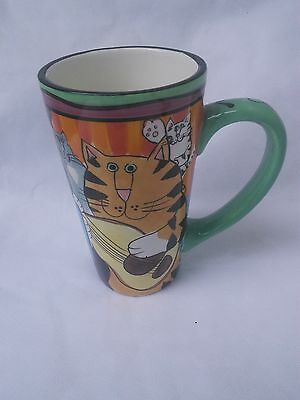 Candace Reiter Catzilla 20oz Tall Latte Mug W/ Cats and Instruments