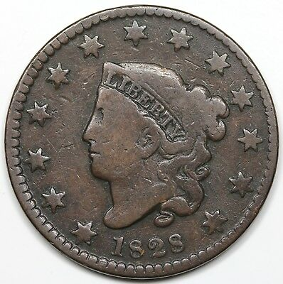 1828 Coronet Head Large Cent, Small Wide Date, VG