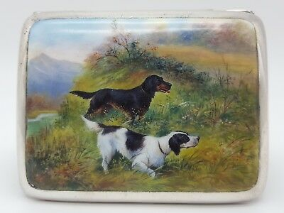 Continental 900 Silver & Enamel Cigarette Case Hunting Scene Two Setter Dogs