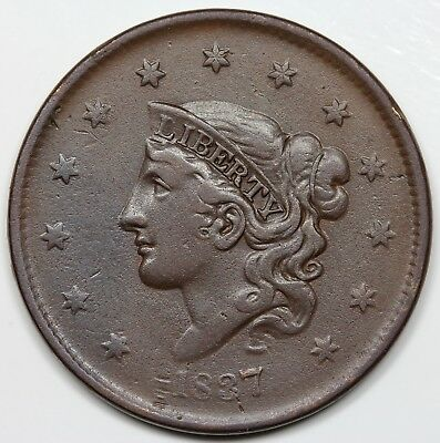 1837 Coronet Head Large Cent, Plain Cords, Medium Letters, VF+ detail