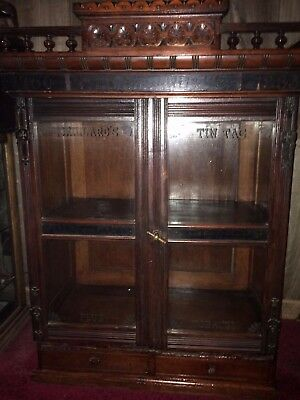 Antique P Lorillard Tobacco advertising Countertop Store Walnut Cabinet Showcase